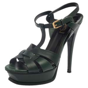 Saint Laurent Green Leather Tribute Platform Ankle Strap Sandals Size 37