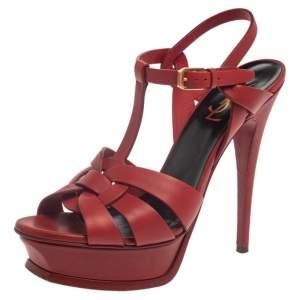 Saint Laurent Red Leather Tribute Platform Sandals Size 38.5