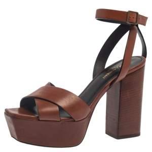 Saint Laurent Brown Leather Farrah Platform Ankle Strap Sandals Size 38.5