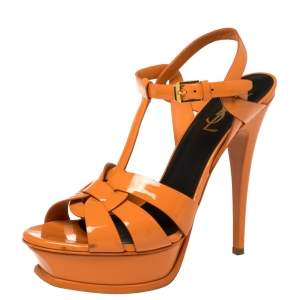 Saint Laurent Orange Patent Leather Tribute Platform Sandals Size 38.5