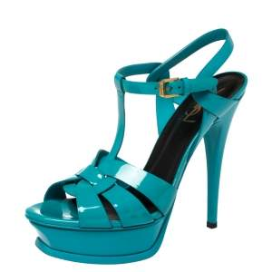 Saint Laurent Teal Patent Leather Tribute Platform Sandals Size 38.5