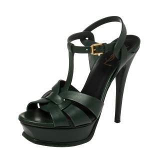 Saint Laurent Dark Green Leather Tribute Sandals Size 37.5