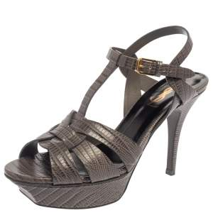 Saint Laurent Grey Lizard Embossed Leather Tribute Sandals Size 37