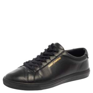 Saint Laurent Black Leather Andy Low Top Sneakers Size 41