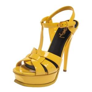 Saint Laurent Paris Yellow Patent Leather Tribute Sandals Size 37.5