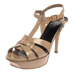 Saint Laurent Paris Beige Patent Leather Tribute  Sandals Size 38.5