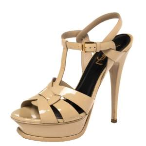 Saint Laurent Beige Patent Leather Tribute Sandals Size 37