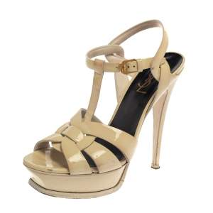 Saint Laurent Cream Patent Leather Tribute Sandals Size 37.5