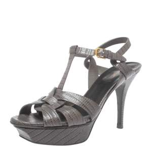 Saint Laurent Lizard Embossed Leather Tribute Sandals Size 37.5