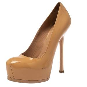 Saint Laurent Paris Beige Patent Leather Tribtoo Pumps Size 39