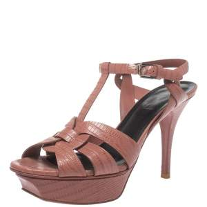 Saint Laurent Paris Rosewood Pink Lizard Embossed Leather Tribute Platform Sandals Size 37.5