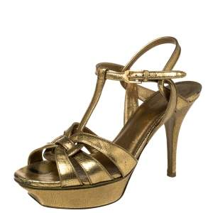 Saint Laurent Paris Metallic Gold Leather Tribute Platform Sandals Size 38