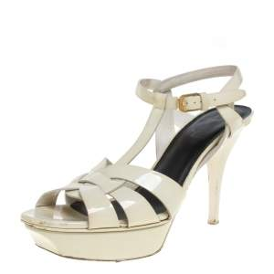 Saint Laurent Cream Patent Leather Tribute Sandals Size 40