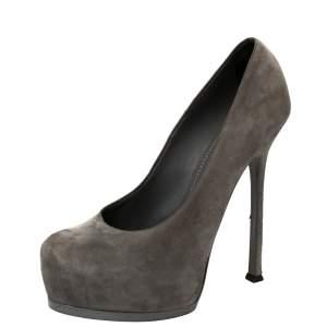 """حذاء كعب عالي سان لوران """"تريبتو"""" نعل سميك سويدي رصاصي مقاس 41.5"""