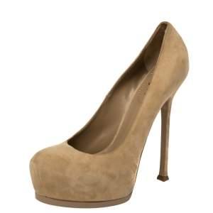 حذاء كعب عالي سان لوران باريس تريبتو سويدي بيج نعل سميك مقاس 41.5