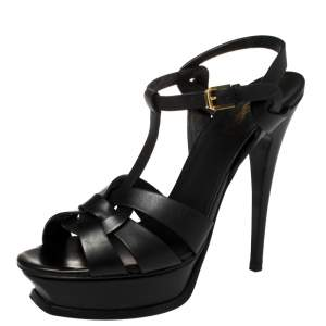 Saint Laurent Black Leather Tribute Platform Ankle Strap Sandals Size 39.5