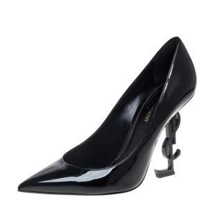"""حذاء كعب عالي سان لوران """"اوبيوم"""" جلد لامع أسود مقاس 39"""