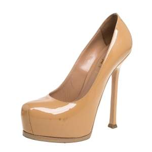 حذاء كعب عالي سان لوران تريبتو نعل سميك جلد لامع بيج مقاس 36.5