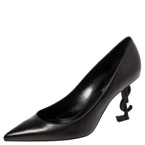 Saint Laurent Black Leather Opyum Pumps Size 37.5