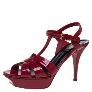 Saint Laurent Red Patent Leather Tribute Platform Ankle Strap Sandals Size 38.5