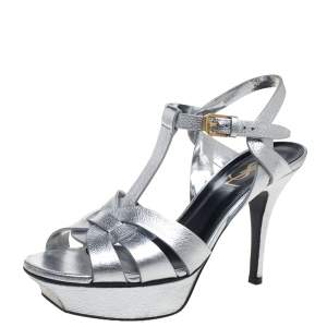 Saint Laurent Sliver Leather Tribute Sandals Size 37