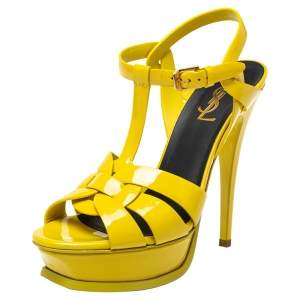 Saint Laurent Yellow  Patent Leather Tribute Platform Sandals Size 37