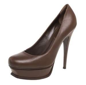 حذاء كعب عالى كريستيان لوبوتان تريبيوت جلد بنى مقاس 40