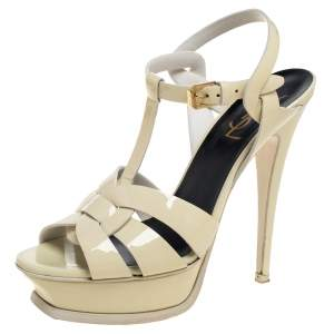 Saint Lauren Cream Patent Leather Tribute Sandals Size 37