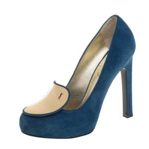 Saint Laurent Blue Suede Mirror Pumps Size 37.5