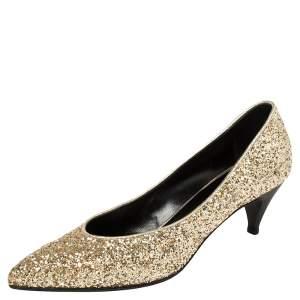 حذاء كعب عالى كريستيان لوبوتان شارلوت غليتر ذهبى مقاس 37.5