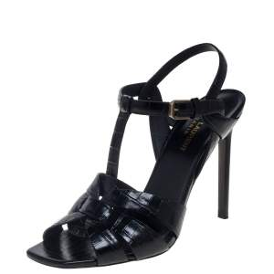 Saint Laurent Black Croc Embossed Leather Tribute Sandals Size 39