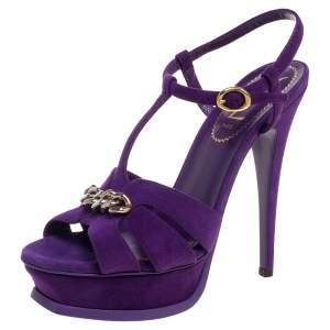 Saint Laurent  Purple Suede Tribute Chain Detail Platform Sandals Size 37