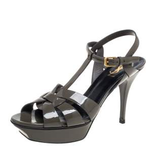 Saint Laurent Grey Patent Leather Tribute Platform Ankle Strap Sandals Size 40