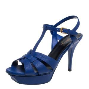 Saint Laurent Electric Blue Textured Leather Tribute Platform Sandals Size 38.5
