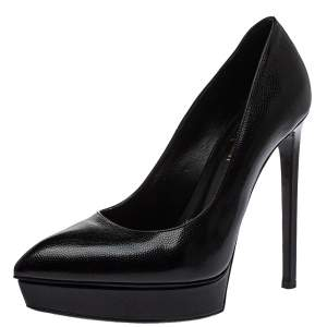 Saint Laurent Black Leather Janis Pointed Toe Platform Pumps Size 38