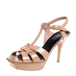 Saint Laurent Beige Patent Leather Tribute Platform Ankle Strap Sandals Size 40
