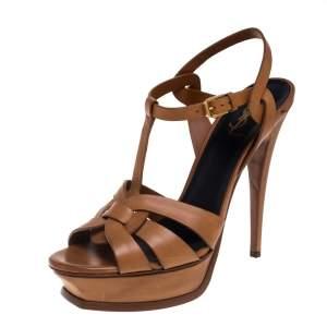 Saint Laurent Tan Leather Tribute Platform Ankle Strap Sandals Size 42