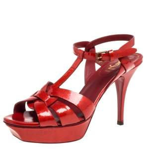 Saint Laurent Red Patent Leather Tribute Platform Ankle Strap Sandals Size 39