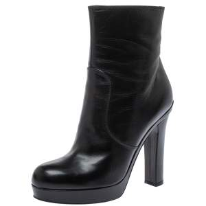 Saint Laurent Black Leather Platform Ankle Boots Size 39