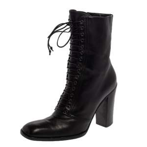Saint Laurent  Black Leather Zipper Detail  Boots Size 37