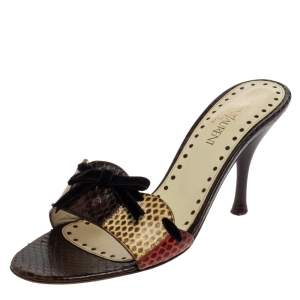 Saint Laurent Multicolor Snakeskin Bow Slide Sandals Size 36