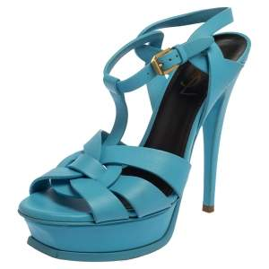 Saint Laurent Blue Leather Tribute Platform Ankle Strap Sandals Size 37