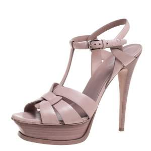 Saint Laurent Blush Pink Leather Tribute Platform Ankle Strap Sandals Size 39.5