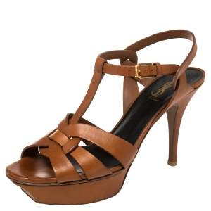 Saint Laurent Tan Leather Tribute Sandals Size 39