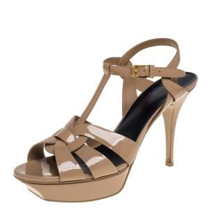 Saint Laurent Beige Patent Leather Tribute  Sandals Size 42