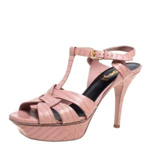 Saint Laurent Pink Croc Embossed Leather Tribute  Sandals Size 37