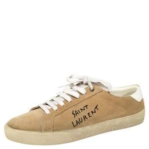 Saint Laurent Beige Suede Court Classic Logo Sneakers Size 39
