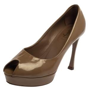 Saint Laurent Brown Patent Leather Peep Toe Platform Pumps Size 36.5