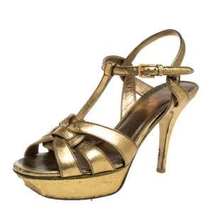 Saint Laurent Gold Leather Tribute Sandals Size 38