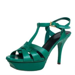 Saint Laurent Green Leather Tribute Sandals Size 36